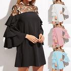 ZANZEA Women Bell Sleeve Splice Flouncing Evening Party Club Mini Shirt Dress