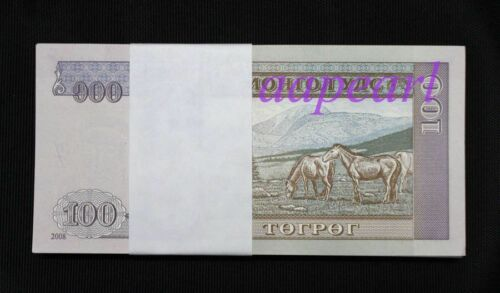 a bundle 100pcs Mongolia 100 Tugrik Banknotes brand new Collection Uncirculateds