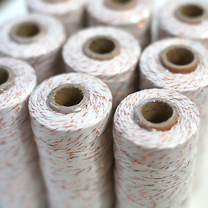 BAKERS-TWINE-CREAM-METALLIC-COPPER-10ply-choose-100m-or-20m-Christmas