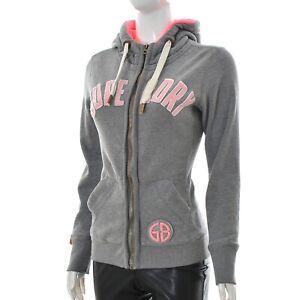 Details about Superdry Womens ladies jumper Active Hoodie Sweatshirt Size XS GreyPink Genuine