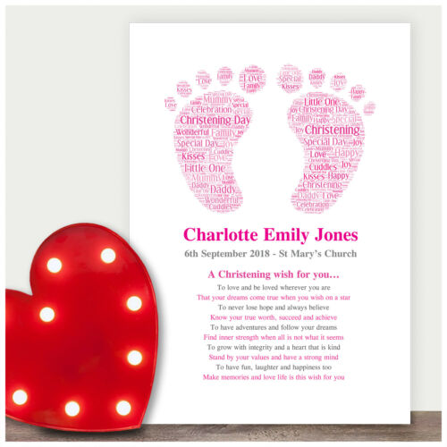 Personalised Christening Wishes Gifts for Baby Girl Boy Godchild PINK or BLUE
