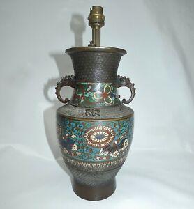 Vase-en-Bronze-Cloisonne-Monte-en-Lampe-Chine-ou-Japon-XIXeme-siecle