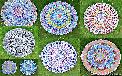 10 PC LOT Indian Hippie Roundie Beach Mandala Round Tapestry Throw Yoga Mat