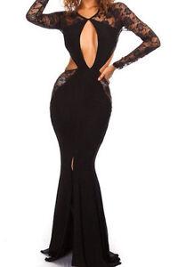 f0794b9b59d9 Caricamento dell immagine in corso Abito-lungo-da-sera-donna-vestito-nero- elegante-
