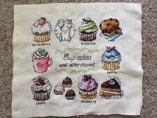 Cup Cakes Coffee Tea Dessert Colorful Finished Cross Stitch Piece
