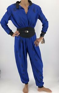 1980s Jumpsuit 28 Waist Navy Blue Romper with Gold Seashell Size Medium Button Back 80s Romper Pants with Wide Neck /& Pockets 38 Bust