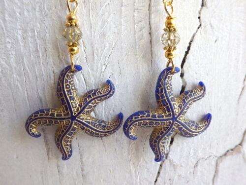 Ohrhänger goldfarben starfish Meerjungfrau mermaid Seestern blau Ohrringe
