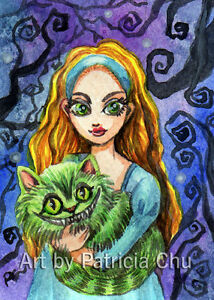 """ACEO LE Art Card Print 2.5/""""x3.5/"""" Alice And Cheshire Cat Art by Patricia"""