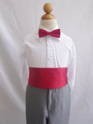 Boy's Red Tuxedo Cummerbund & Bowtie Set Christmas Bow Tie Formal Costume New
