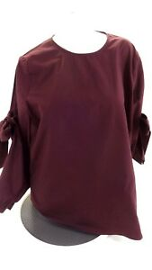 NWOT-PLIEONE-WOMENS-PURPLE-PLUM-COTTON-TIE-SLEEVE-BLOUSE-TOP-SIZE-XXL
