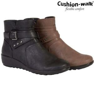 Ladies-New-Cushion-Walk-Side-Zip-Ankle-High-Fashion-Casual-Walking-Winter-Boots