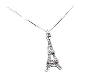 Collana-Donna-Argento-925-Torre-Eiffel-Parigi-Impreziosita-da-Zirconi-Bianchi