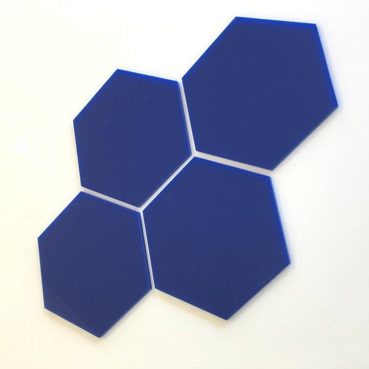 HEXAGONAL Acryl Wandfliesen - blau