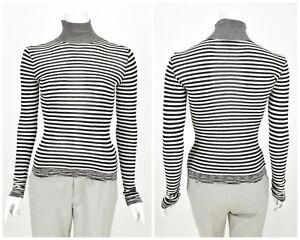 Womens-M-by-Missoni-High-Neck-Jumper-Striped-White-amp-Black-Size-IT40-UK8