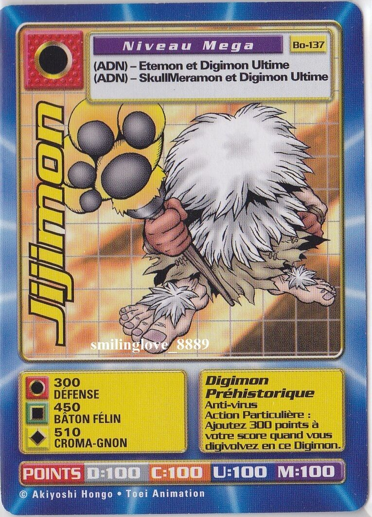 FRENCH NON-FOIL RARE CARD - BOOSTER SERIES SERIES 3 - Bo-137 JIJIMON Mega Level Digimon