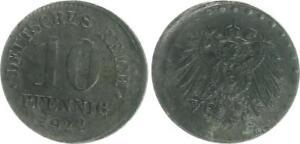 Empire 10 Pfennig .J.298 1922E Lack coinage: lightweight decentered vf-xf