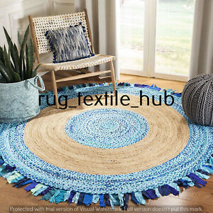 Jute Cotton Round Floor Mat Handmade