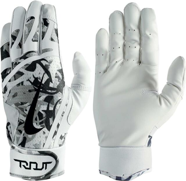Nike Trout Edge Batting Gloves White/Black/Cool Grey Adult Unisex Small New