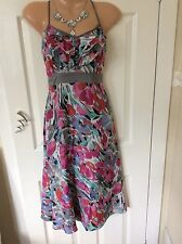 Monsoon floral 100% viscose  strappy dress size 8 Exc Cond Hols 25/5 To 6/6