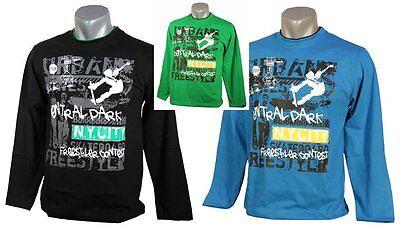 Kinder Langarmshirt, blau, schwarz, grün, NEU, Shirt, Sweatshirt, 100% Baumwolle