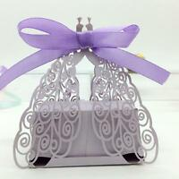 50pcs Peacock Laser Cut Candy Gift Boxes With Pink / Purple Ribbon Wedding 8uv1