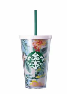 Details About Rare Starbucks Tumbler Cold Cup Ban Do Floral Straw Green Plastic Flower 2017