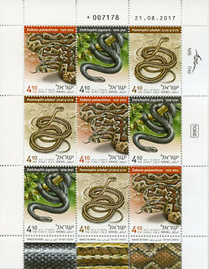 Israel-2017-neuf-sans-charniere-serpents-grand-fouet-serpent-9-V-M-S-Reptiles-timbres
