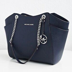Details zu Original Michael Kors tasche handtasche jet set travel chain tote navy neu