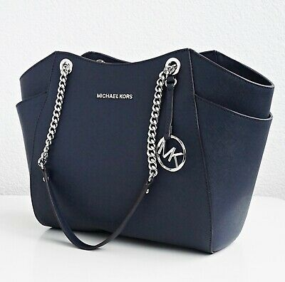 Original Michael Kors Handbag Jet Set Travel Chain Tote Navy NEW | eBay