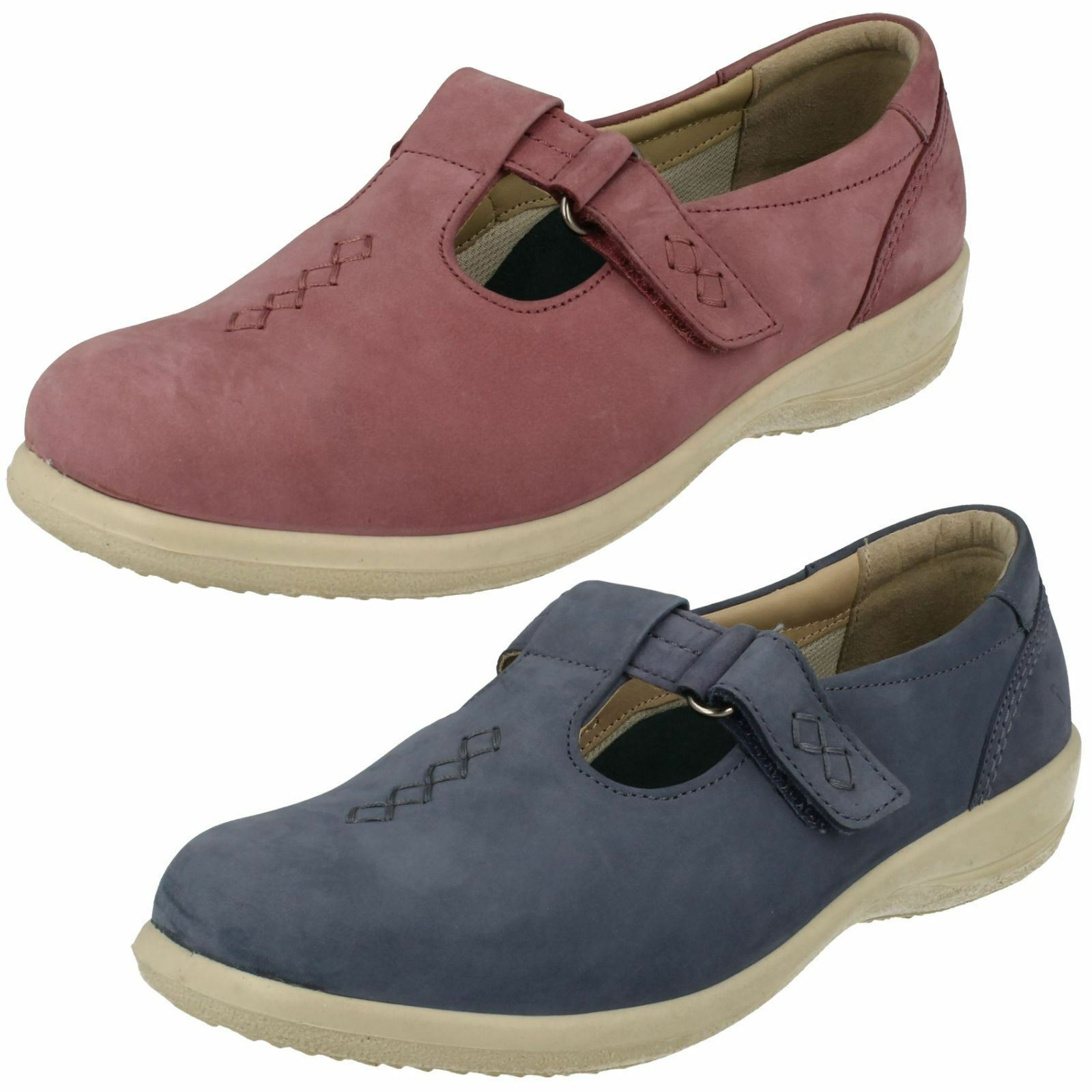 Ladies Padders Casual T-Bar Hook & Loop Extra Wide Fit Leather shoes Solo