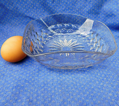 Vintage glass bowl 6 inches square with curved rim