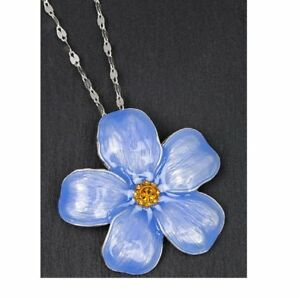 Forget-Me-Not-Flower-Necklace-By-Equilibrium-Long-Chain-Lovely-Sentiment-Gift