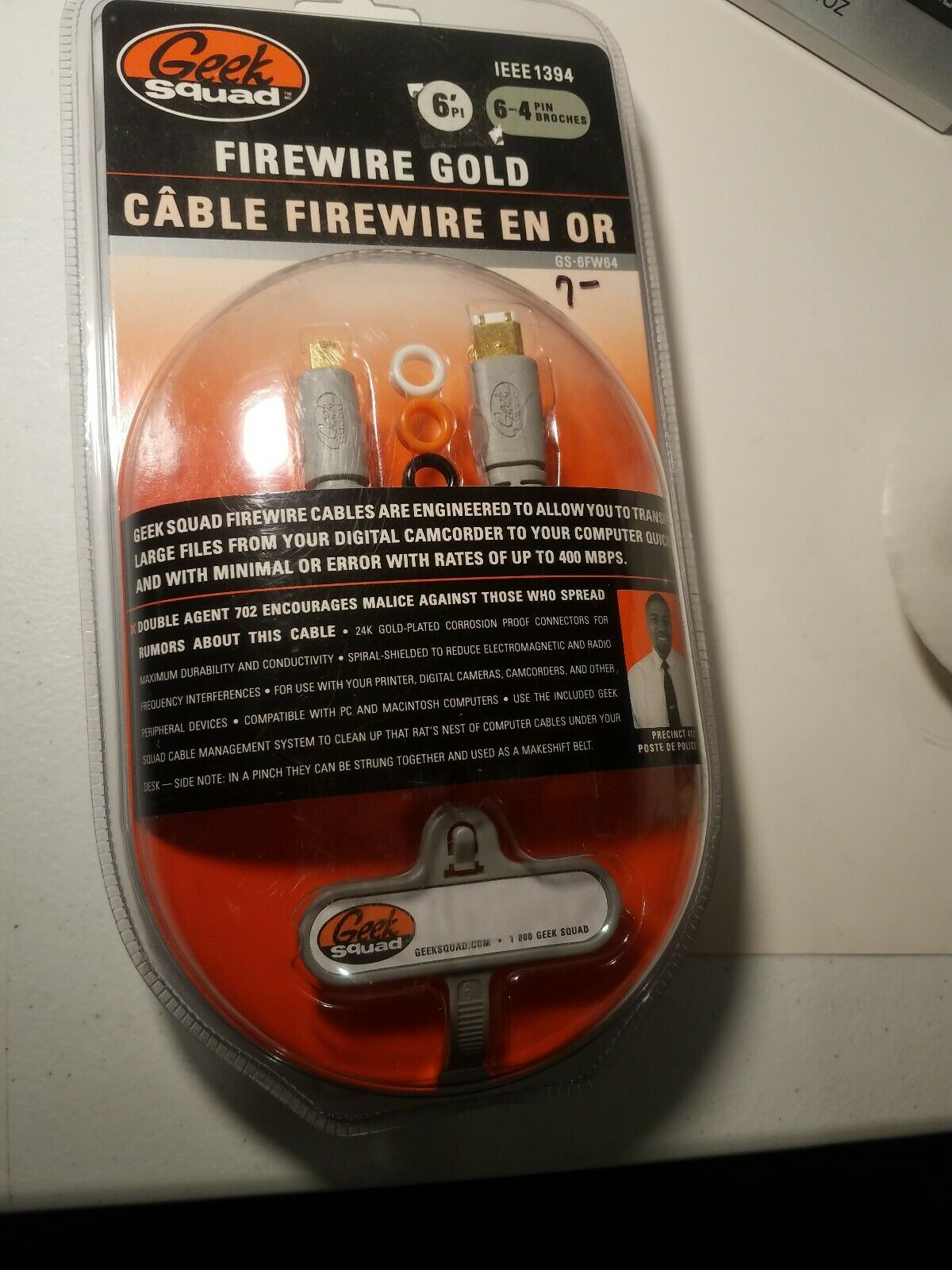 Geek Squad Firewire Gold 6' Cable 6-4 Pin GS-6FW64 IEEE 1394 UPC:600603101731