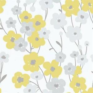 Details About G56350 Tempo Floral Yellow Grey Galerie Wallpaper