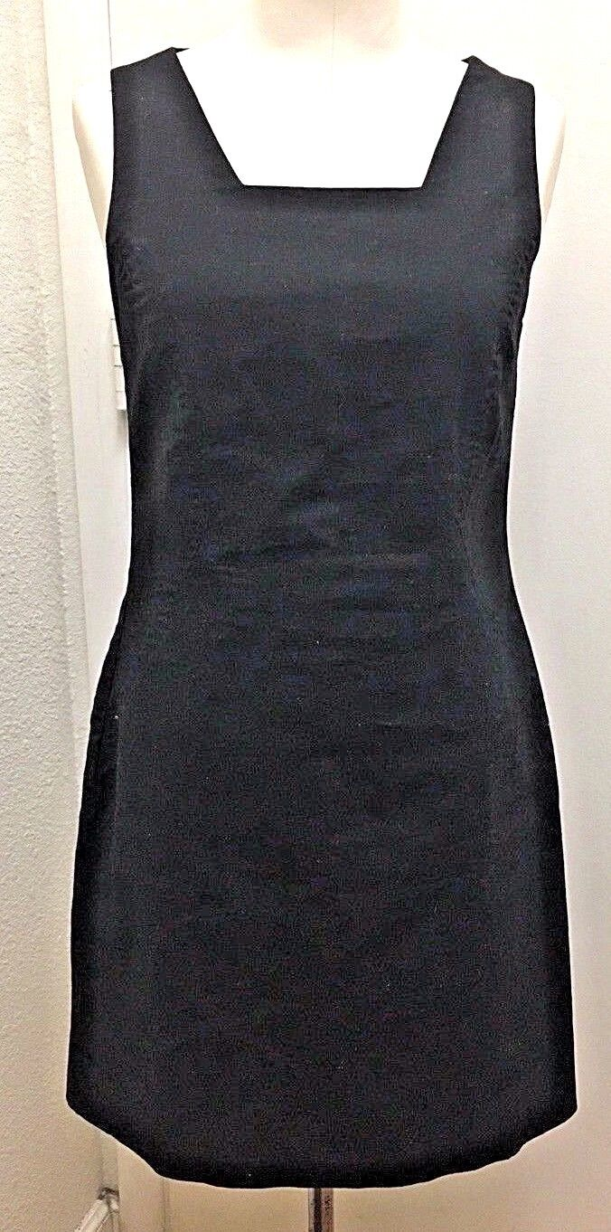 JG HOOK Womans Black Linen Square Neck Sleeveless Knee Length Sheath Dress Sz 4P
