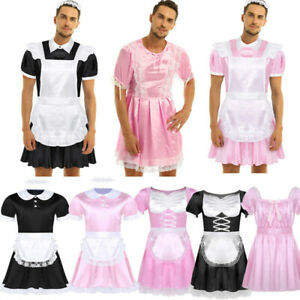 Mens Maid Cosplay Costume Satin Lace Maid Dress Headband Apron Outfits Nightwear