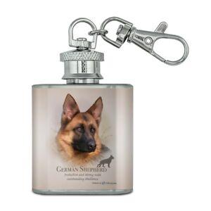 German Shepherd Dog Image Black Leather Keyring in Gift Box