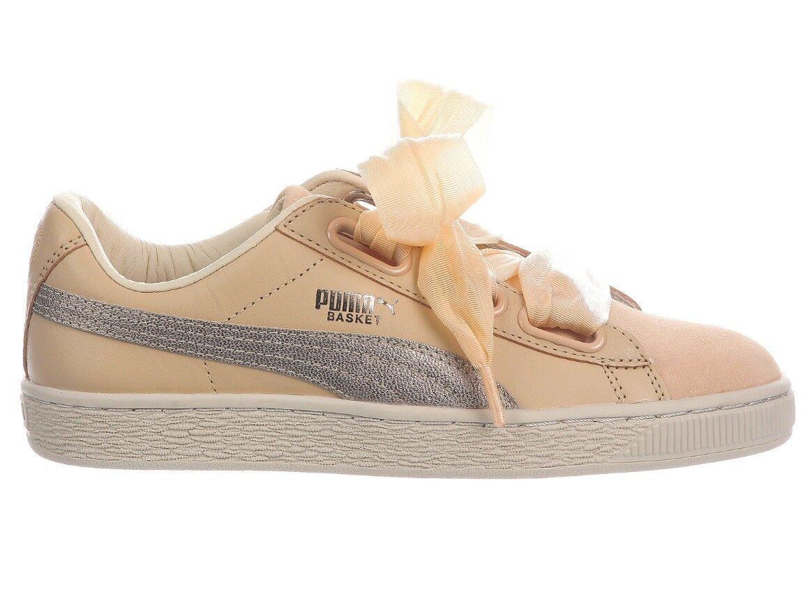 Puma Basket Natural Heart Up Womens 364955-01 Natural Basket Vachetta Leather Shoes Size 5.5 58201c