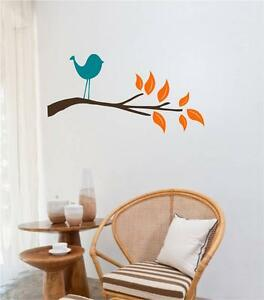 Bird On Branch With Leaves Vinyl Decal Wall Decor Stickers