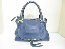 Authentic Chloe Navy Marcie Leather Handbag w/ Shoulder Strap
