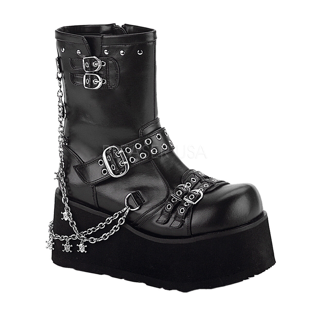 Demonia Clash-430 Ladies Goth Punk Lolita Detachable Chains Calf Black Boots