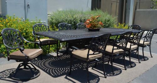 Patio Dining Set Outdoor 11pc Elisabeth Aluminum Extension Rectangle ...