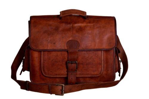 Men/'s Genuine Vintage Brown Leather Messenger Shoulder Laptop Bag Briefcase Sale