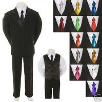 Baby Toddler Boy Black Formal Suit + Extra Color Tie 6pc Tuxedo S M L Xl 2t-20