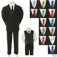 Baby Toddler Boy Black Formal Suit + Extra Color Tie 6pc Tuxedo S M L Xl 2t-20