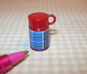 Miniature-Red-Plastic-Thermos-BLUE-PLAID-for-DOLLHOUSE-1-12-Scale-Miniatures