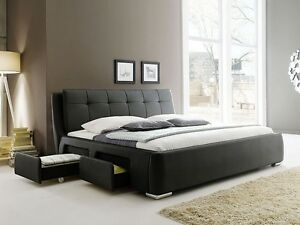 polsterbett schwarz bett 180x200 bettgestell 4x schubkasten doppelbett alvaro ebay. Black Bedroom Furniture Sets. Home Design Ideas