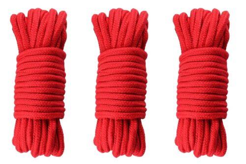 10m Red 100/% Cotton Tie /& Tease Fun 3 x Shibari Soft Bondage Ropes