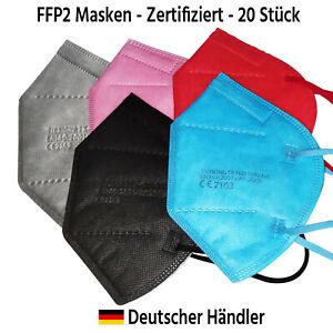 20St. FFP2 Maske Mundschutz Bunt CE zertifiziert - Schwarz Blau Rot Pink Grau