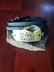 Handmade-womens-black-leather-wrap-bracelet-with-034-Be-Strong-amp-Courageous-034-Quote